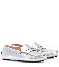 Tod's Gommini Leather Penny Loafers Silver
