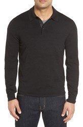 John W. Nordstromr Men's Big And Tall Nordstrom Wool Polo Sweater Black Rock
