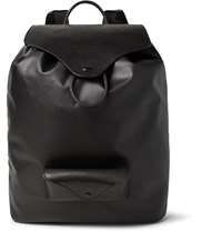 Maison Martin Margiela Leather Trimmed Coated Canvas Backpack Black
