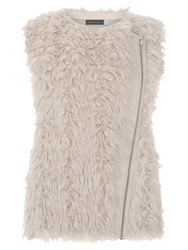 Mint Velvet Collarless Faux Fur Gilet Taupe