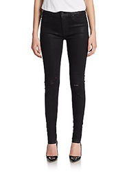 Hudson High Waisted Distressed Skinny Jeans Waxed Black