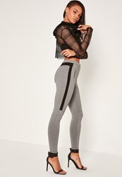 Missguided Grey Biker Zip Treggings