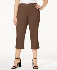 Jm Collection Plus Size Pull On Capri Pants Only At Macy's Brown Clay