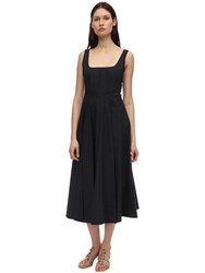 Staud Cotton Poplin Midi Dress Black