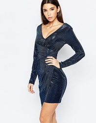 Lipsy Metallic Textured Plunge Mini Dress With Ruched Side Navy