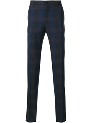 Etro Check Printed Trousers Men Acetate Viscose Wool 46 Blue