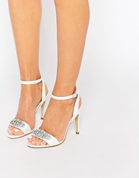 New Look Embellished Barely There Shoes Cream