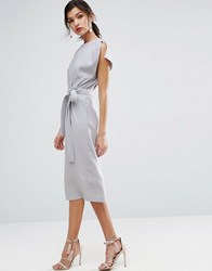 Asos Belted Midi Dress With Split Cap Sleeve And Pencil Skirt Blue