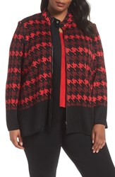 Ming Wang Plus Size Houndstooth Jacket Black Bushberry