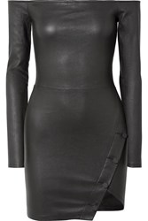Rta Electra Off The Shoulder Stretch Leather Mini Dress Black