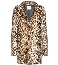 Velvet Celine Faux Fur Leopard Printed Jacket Multicoloured