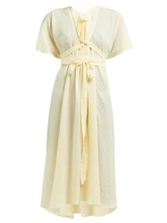 Loup Charmant Nautilus Organic Cotton Voile Midi Dress Yellow