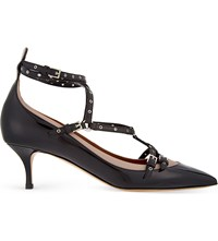 Valentino Lovelatch Patent Leather Pointed Toe Courts Blk Beige
