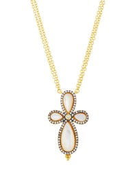 Freida Rothman Long Pave Crystal Clover Pendant Necklace White