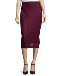 5Twelve Crepe Knit Body Con Midi Skirt Plum