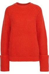 Frame Oversized Ribbed Knit Sweater Tomato Red
