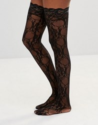 Leg Avenue Stay Up Floral Lace Stockings Black