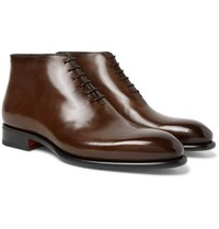 Santoni Whole Cut Leather Boots Dark Brown