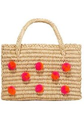 Nannacay Woman Baby Maldives Pompom Embellished Raffia Tote Bright Orange