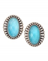Lagos Venus Fluted Crystal And Turquoise Doublet Button Earrings