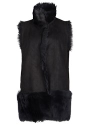 Karl Donoghue Blue Reversible Nubuck And Shearling Gilet Navy