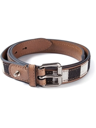 Burberry Striped Buckle Belt Brown