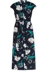 Erdem Finn Belted Floral Print Crepe Midi Dress Navy