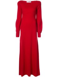 Ryan Roche Bell Sleeve Maxi Dress Cashmere Red