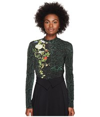 Preen Flor Printed Jersey Bodysuit W Zip Sleeves Emerald Python Women's Jumpsuit And Rompers One Piece Green