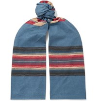 Rrl Printed Cotton Voile Scarf Navy