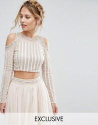 Lace And Beads Cold Shoulder Embellished Crop Top Co Ord Cream
