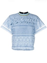 House Of Holland Heart Lace T Shirt Blue