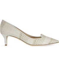 Jimmy Choo Allure 50 Woven Pointed Toe Courts White Marble