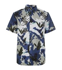 Burberry Abstract Floral Print Shirt Male Blue