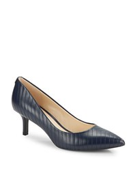 Karl Lagerfeld Rosette Leather Point Toe Pumps Navy