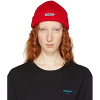 Off White Red Logo Patch Beanie