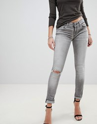 Replay Luz Rip Knee Skinny Jeans Grey