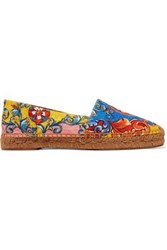 Dolce And Gabbana Printed Canvas Jacquard Espadrilles Multicolor