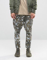 Asos Washed Camo Drop Crotch Chinos In Khaki Khaki Green