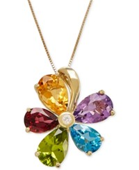 Macy's Multi Gemstone 12 7 8 Ct. T.W. And Diamond Accent Flower Pendant Necklace In 14K Gold