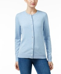 Karen Scott Crew Neck Cardigan Only At Macy's Light Blue Heather