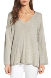Guest Editor Women's Deep V Neck Hooded Pullover Heather Grey