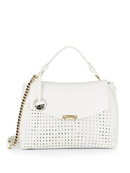 Versace Chain Detailed Woven Leather Satchel Bianco