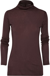 Enza Costa Pima Cotton Turtleneck Top Red