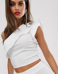 Vesper One Shoulder Crop Top With Frill Detail In White
