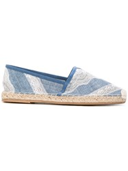 Ermanno Scervino Classic Espadrilles Women Cotton Raffia Leather Rubber 40 Blue