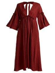 Three Graces London Georgiana Tie Back Linen Dress Burgundy
