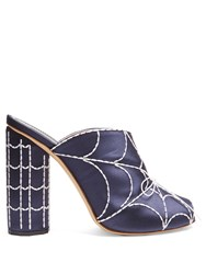 Marco De Vincenzo Spider's Web Embroidered Satin Mules Navy Multi