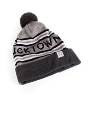 Tuck Shop Co. Bucktown Striped Pompom Beanie Grey