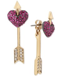 Betsey Johnson Two Tone Pave Heart And Arrow Front And Back Earrings Pink